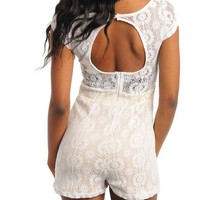LADIES FASHION LACE OPEN BACK ROMPER