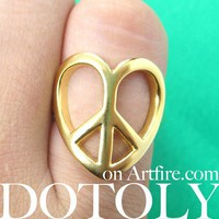 Love and Peace Heart Shape Peace Sign Outline Cut Out Ring Gold Size 6
