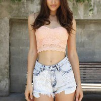 Peach Lace Strapless Bustier Crop Top