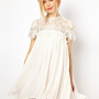 Lydia Bright Swing Dress with Lace Top at asos.com