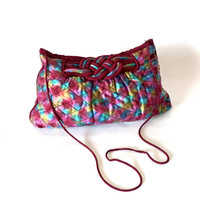 Vintage 80's Quilted Purse Rainbow Crossbody Bag