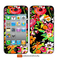 Iphone 5 4 4s Skin Cover - Floral Pattern - decal sticker