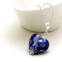 Indigo Blue Purple Heart Silver Necklace - My Heart / Romance / Love / Floral / Easter