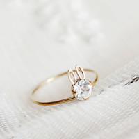 dainty minimalist wedding ring rabbit bunny ring rabbit by xuanqi