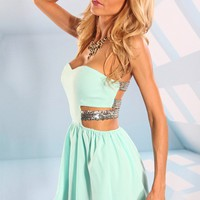 Peach Strapless Mini Dress with Gold Sequin Strap Detail