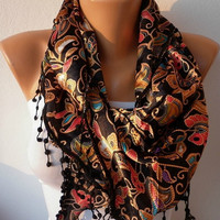 Women  Scarf  Headband Necklace Cowl with Lace  by fatwoman/91453783