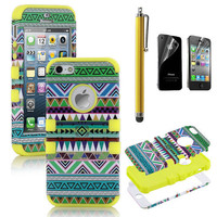 Stylus + For iPhone 5 5th 3-Piece Hybrid High Impact Case Tribal Yellow Silicone