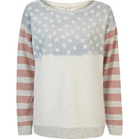 Cream stars and stripes flag print sweatshirt