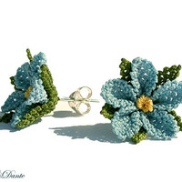 Lace earrings. Mystic blue. Light sky blue flower earring studs. soft baby blue lace earring. TAGT