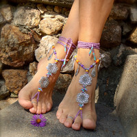 GYPSY purple BAREFOOT Sandals Anklets Crochet SANDALS Wedding Barefoot Sandals sole less shoes Foot Jewelry antique flowers