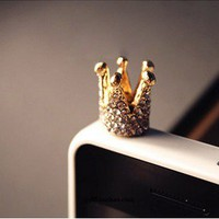 Golden Crystal Crown iphone 4s cell plug
