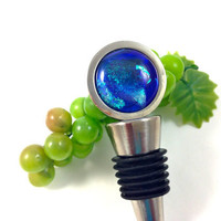 Dichroic Fused Glass Wine Stopper Blue Green 125