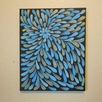 Painting Blue and Bronze Flower Aboriginal Inspired by Acires