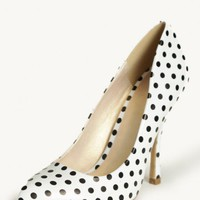 table for two polka dot heels at ShopRuche.com
