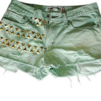 Distressed Mint Green Levi's Denim Shorts 32W