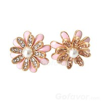 Cute 16K Gold Plated Chrysanthemum Stud Earrings at Online Jewelry Store Gofavor