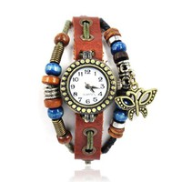 Handmade Leather Watch with Butterfly Pendant