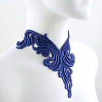Plunging Blue Bib Lace Choker Necklace in Victorian Style - Large Jewelry Statement Piece Available in 4 colors