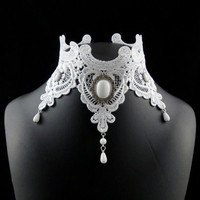 Victorian White Collar Necklace Choker, Lace Embroidery with Jade Stone, Teardrop Beads - Bridal, Wedding, Jewelry, Photo prop, Costume