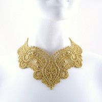Gold Lace Necklace Choker - Statement Bib -  Renaissance Queen - Women Holidays Jewelry in Victorian pattern
