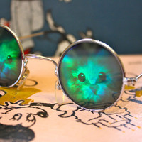 VTG 90s Cat Hologram Round sunglasses by PenelopeMeatloaf on Etsy
