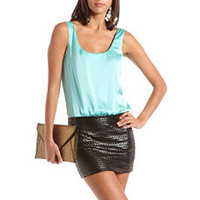 Satin Pleather 2-Fer Dress: Charlotte Russe