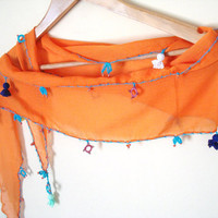 Orange Scarf with Embroidery Unique Gifts Orange Blue by bypasha