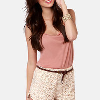 Run for the Honey Beige Lace Shorts