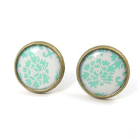 Pastel Mint Green Floral Pattern Earring Studs by MistyAurora