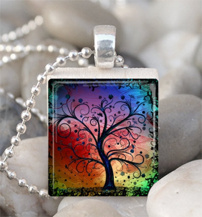Scrabble Tile Pendant Colorful Tree Pendant Tree by IncrediblyHip
