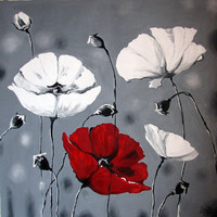 Original oil painting flowers White poppies on by ArtonlineGallery