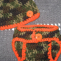 Little Hunter Camo Baby Diaper Cover and Baby Hat Set 3-6 months Baby Shower Gift, Ready to Ship
