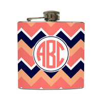 Circle Monogram Hip Flask Personalized Chevron Stripe Initials Bridesmaid Gifts - Stainless Steel 6 oz Liquor Hip Flask LC-1209