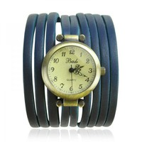 Blue Multi thin Leather Stripes Wrap Watch