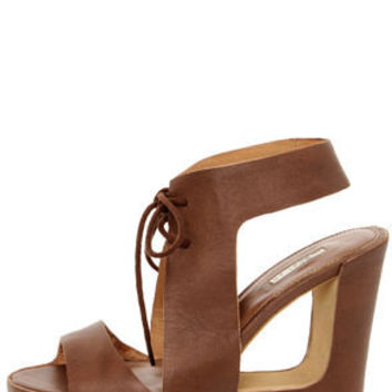 Matiko Elena Marrone Brown Lace-Up Cutout Wedge Sandals