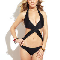 ideeli | BEAUTY AND THE BEACH Lycra Crossover Monokini
