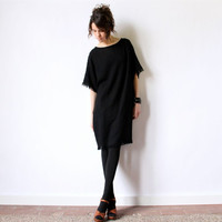 80s Minimalist Avant Garde Dress, Slouchy black babydoll grunge pullover oversized boxy New Wave hipster tunic beach cover