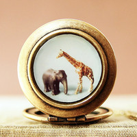 The Giraffe and The Elephant Photo Locket by HeartworksByLori