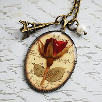 Real Rose Necklace Pressed Flowers Wearable by NaturalPrettyThings