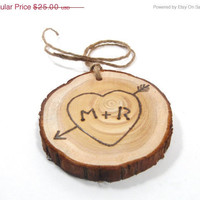 Spring Sale Rustic Wedding Tree Ring Initials by KnottyNotions