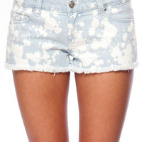 Bleach Distressed Cutoff Denim Shorts in Light Blue :: tobi