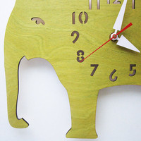 The Big Lime Green Elephant designer wall mounted clock by LeLuni