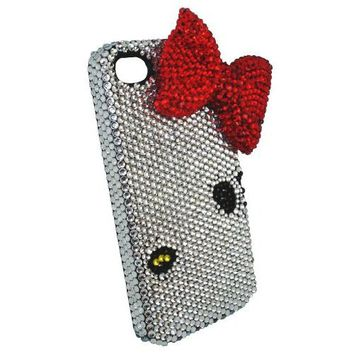Fits Iphone 4/4s Genuine Crystal Kitty Bling Silver Big Red Bow Case Cover Bumper
