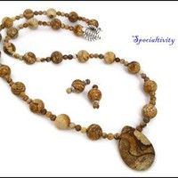 Handmade Brown Picture Jasper Teardrop Necklace and Matching Earrings