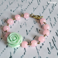 Flower Girl Bracelet Pearl Bracelet Bridesmaid Bracelet Vintage Rose Bracelet Mint Flower Bracelet  - Handmade