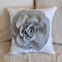 Grey Rose on White Pillow by bedbuggs on Etsy