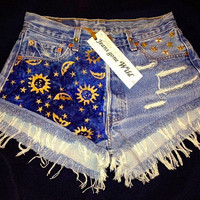 STARRY NIGHT High waisted destroyed studded denim by jeansgonewild