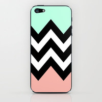DOUBLE COLORBLOCK CHEVRON {MINT/CORAL/BLACK} iPhone &amp; iPod Skin by nataliesales