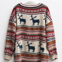 Loose retro style reindeer jumper 1