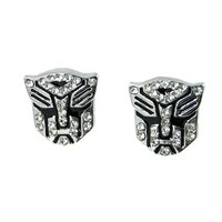 Amazon.com: Transformer Autobot White Crystal Silver Tone Stud Earrings: Jewelry
